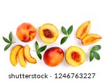 Ripe Nectarine With Leaves...
