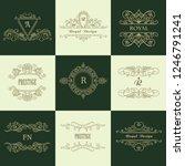 set of line gold monograms.... | Shutterstock .eps vector #1246791241