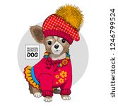vector dog with red hat ...   Shutterstock .eps vector #1246799524