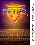 futuristic background 80s style.... | Shutterstock .eps vector #1246830217
