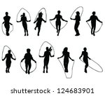 Silhouettes Of Jumping Rope...