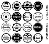Collection of premium vector badges & packaging labels.Styles include modern,retro, clean, & classic. Isolated design elements includes typography for Quality,Authentic, Best,Original, & Select.Eps10. | Shutterstock vector #124685281