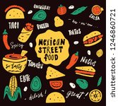 mexican street food. funny hand ... | Shutterstock .eps vector #1246860721