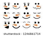 Cute Snowman Faces   Vector...
