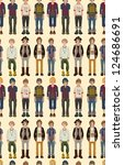 seamless young man pattern... | Shutterstock .eps vector #124686691