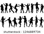 silhouettes of children dancing ...   Shutterstock . vector #1246889734