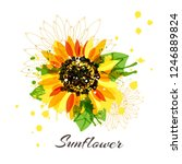 sunflower in abstract hand... | Shutterstock .eps vector #1246889824