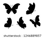 Stock vector peacock butterfly icons collection vector isolated silhouettes design elements 1246889857