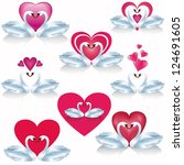 set of white swans with hearts  ... | Shutterstock .eps vector #124691605