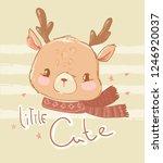hand drawn cute baby deer in a...   Shutterstock .eps vector #1246920037