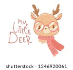 hand drawn cute baby deer with... | Shutterstock .eps vector #1246920061