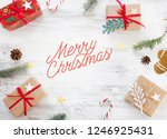 christmas background on the... | Shutterstock . vector #1246925431