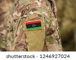 flag of libya on soldiers arm ...   Shutterstock . vector #1246927024