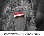 flag of yemen on soldiers arm ... | Shutterstock . vector #1246927027
