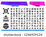 vector icons pack of 120 filled ... | Shutterstock .eps vector #1246929124