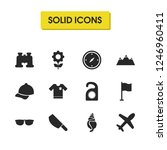 summer icons set with tag ...