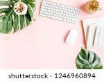 flat lay home office desk.... | Shutterstock . vector #1246960894