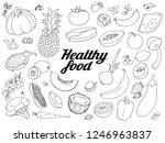 healthy food set. hand drawn... | Shutterstock .eps vector #1246963837
