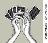 female hands with playing cards ... | Shutterstock .eps vector #1246980931