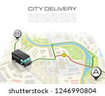 delivery navigation route  city ... | Shutterstock .eps vector #1246990804