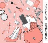 women's handbag with cosmetics  ...   Shutterstock .eps vector #1246994617