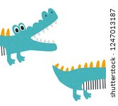 funny kids print with crocodile.... | Shutterstock .eps vector #1247013187