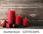Christmas Candles With Fir Tre...