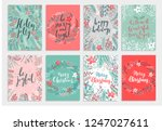 christmas callygraphic card set ... | Shutterstock .eps vector #1247027611