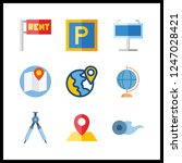 9 geography icon. vector... | Shutterstock .eps vector #1247028421