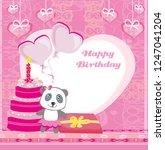 happy birthday card   cute... | Shutterstock . vector #1247041204