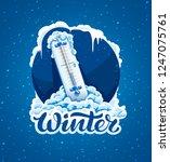 winter frost calligraphic text... | Shutterstock .eps vector #1247075761