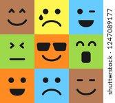 set of nine colorful emoticons. ... | Shutterstock .eps vector #1247089177
