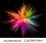 colored powder explosion on... | Shutterstock . vector #1247097094