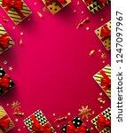 christmas red background poster ... | Shutterstock .eps vector #1247097967