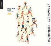 marathon race group   flat... | Shutterstock .eps vector #1247099317