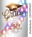 grad party invitation cards... | Shutterstock .eps vector #1247099437