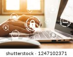 businessman working on laptop.... | Shutterstock . vector #1247102371