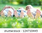 group of happy children lying... | Shutterstock . vector #124710445