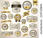 set luxury labels and ribbons | Shutterstock .eps vector #124710844