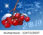 merry christmas 2019. holiday... | Shutterstock .eps vector #1247115037