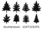 set of pine tree silhouette on... | Shutterstock .eps vector #1247123191