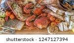 groumet seafood platter on... | Shutterstock . vector #1247127394