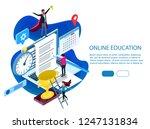 flat exam isometric online  ...   Shutterstock .eps vector #1247131834