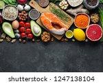 healthy food clean eating... | Shutterstock . vector #1247138104