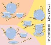 vintage tea set on the pastel... | Shutterstock .eps vector #1247139127