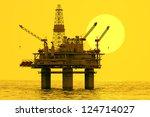 image of oil platform during... | Shutterstock . vector #124714027