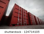picture of red containers in... | Shutterstock . vector #124714105