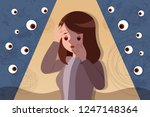 Stock vector peeping and bullying over an upset and depressed woman 1247148364