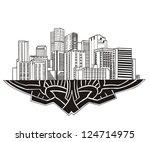 Denver, CO Skyline. Black and white vector illustration EPS 8.