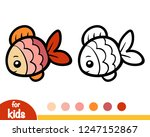 coloring book for children  fish | Shutterstock .eps vector #1247152867